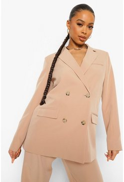 Taupe beige Double Breasted Oversized Blazer