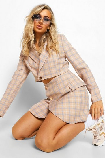 Taupe beige Tailored Check Crop Blazer