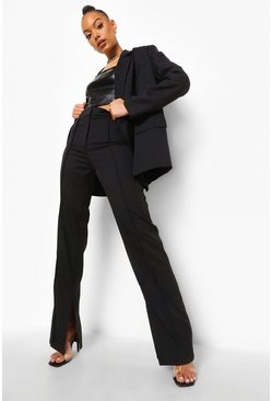 Pin Tuck Fit & Flare Tailored Trousers, Black schwarz
