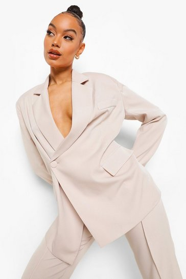 Cream white Wrap Front Tailored Blazer