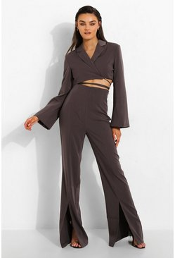 Charcoal grey Tailored Split Front Trousers