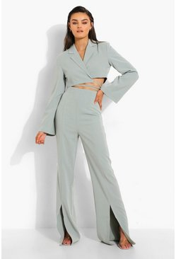 Sage green Tailored Split Front Trousers