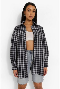 Black Oversized Longline Checked Shirt