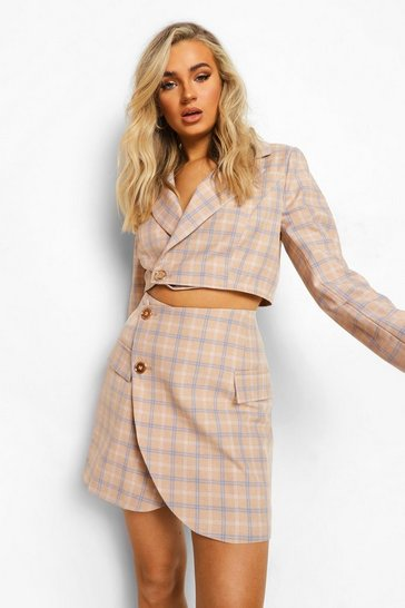Taupe beige Tailored Check Wrap Mini Skirt