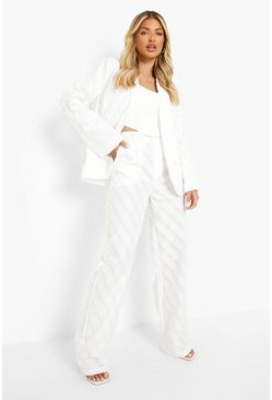 Ivory white Textured Wide Leg Trousers
