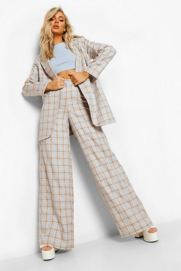 Blush pink Checked Relaxed Wide Leg Trousers