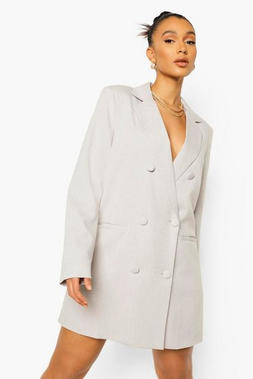 Taupe beige Linen Look Oversized Blazer Dress