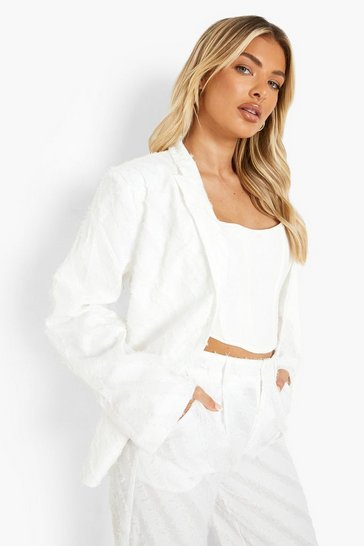 Ivory white Textured Oversized Blazer