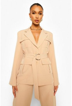 Utility Blazer & Wide Leg Trouser Suit Set