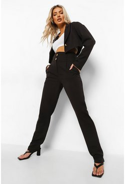 Double Waistband Straight Leg Trousers, Black schwarz