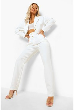 Ivory white Double Waistband Straight Leg Trousers