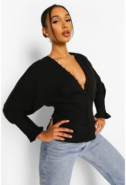 Balloon Sleeve Button Front Blouse , Black schwarz