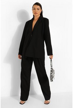 Black Linen Look Pleat Front Relaxed Trousers