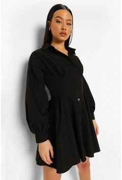 Black Corset Detail Shirt Dress