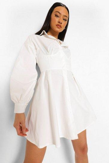 Ivory white Corset Detail Shirt Dress