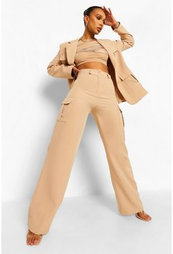 Beige Wide Leg Utility Trousers