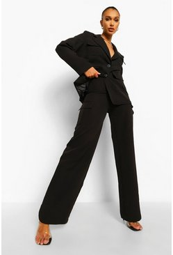 Black Wide Leg Utility Pants