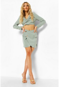 Sage green Tailored Wrap Mini Skirt