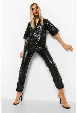 Leather Look Straight Leg Trousers, Black negro