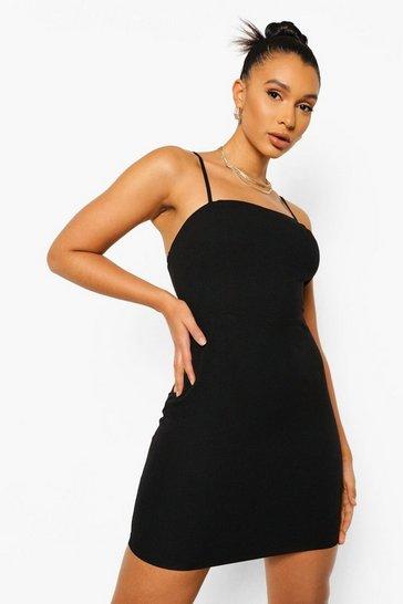 Black Linen Look Mini Slip Dress