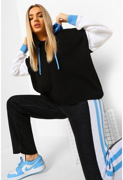 Black Colour Block Knitted Tracksuit