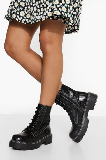 Black Wide Fit Double Stitch Chunky Hiker Boots