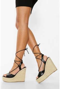 Black High Wrap Up Wedge