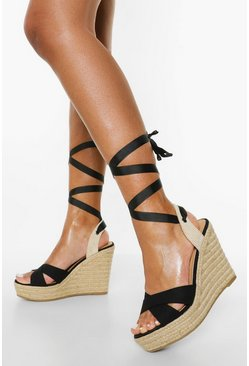 Black Canvas Crossover Wedge