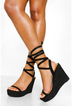 Black Strappy Wrap Up Wedge
