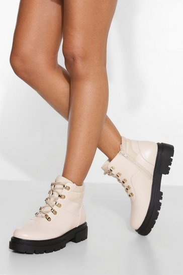 Cream white Wide Fit Padded Cuff Chunky Hiker Boots
