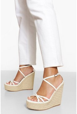 Skinny Strappy Wedge, White bianco
