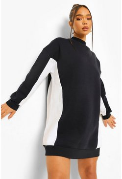 Navy High Neck Colour Block Sweat Dress