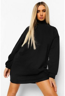 Black Cut Out Neck Sweat Dress