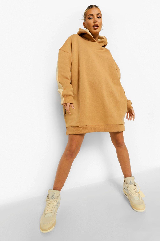 DRESSES Contrast Colour Block Hoodie Dress