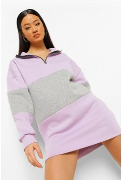 Grey marl grey Colour Block Half Zip Sweat Dress