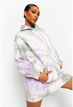 Purple Tie Dye Hoodie Dress