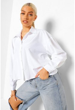 White Cropped Boxy Shirt