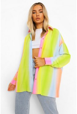 Multi Rainbow Tie Dye Fade Oversized Shirt