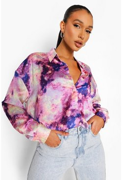 Purple Oversized Tie Dye Blouse