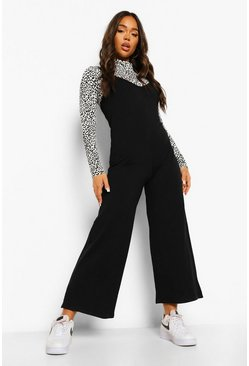 Black Leopard Roll Neck Top And Jumpsuit
