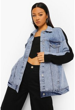Ice blue Colour Block Acid Wash Oversized Denim Jacket