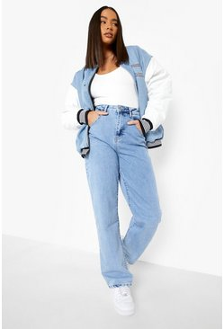 Ice blue High Waisted Acid Wash Boyfriend Jeans