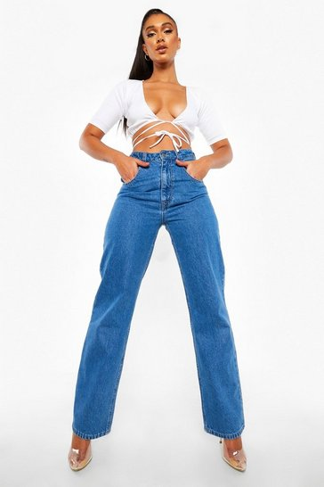Mid blue blue High Waisted Boyfriend Jeans