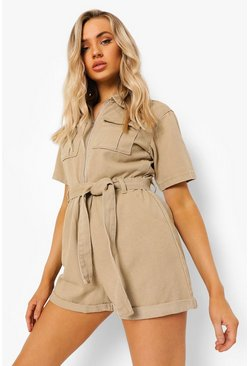 Belted Denim Utility Playsuit, Taupe beige