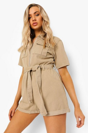 Taupe beige Belted Denim Utility Playsuit