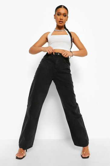 Washed black High Waisted Washed Boyfriend Jeans