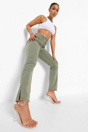 Washed khaki khaki Split Hem Jeans