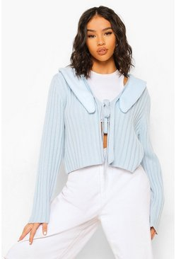 Blue Faux Fur Trim Lace Up Cardigan