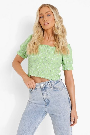 Green Floral Shirred Square Neck Crop Top