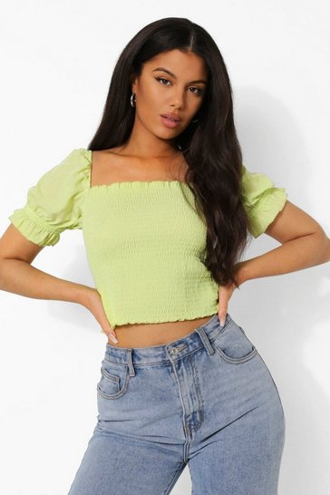 Chartreuse yellow Yellow Shirred Square Neck Crop Top